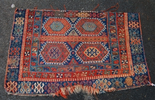 Antique Kurdish jaff rug fragment. 19th century. 147 x 96cm. Lovely old fragment.