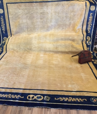 Peking carpet Size cm.380*280 small spot area low pile,few olds repairs, overall very  good condition