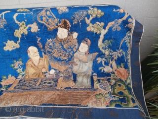"""Old China Silk Textile """"four season"""" size cm. 140*70"""