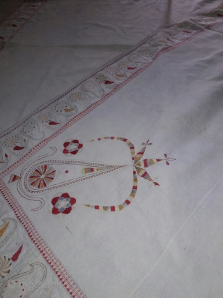 Old vintage Kantha from West Bengal with very fine hand embroidery big size with beautiful mango design on the four side corners the condition of the Kantha is very good and the  ...