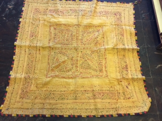 kutchi dhebariya work dowry gudri (quilt) from dudhai village kutch region Gujarat with beautiful tightly worked chain stitch work with mirrors and also a bit of applique work done on it the  ...