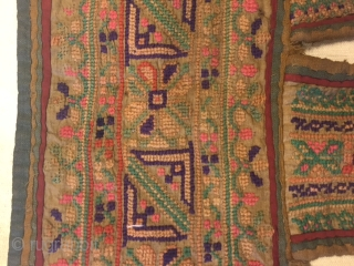 very rare hand embroided jat garasia toran (door hanging)from kutch region Gujarat, garasia women stitch an array of geometric patterns in counted work based on cross stitch work.this style of design on  ...