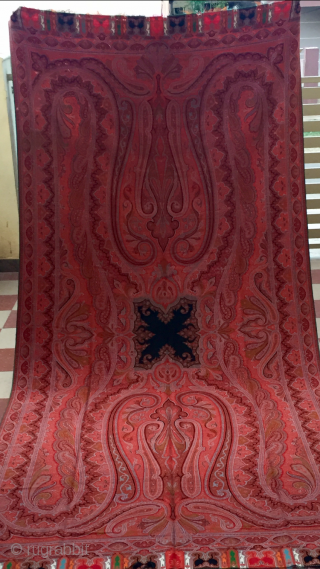 paiesly shawl of c.1870 hand woven with very fine wool huge men size shawl with beautiful mango motifs in it the size of the shawl is 132 inches X 62 inches.the  ...