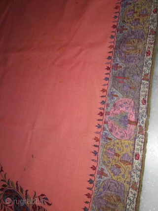 signature kashmir kani gents size shawl c.1880 with beautiful mango design on four sides corner of the shawl with hand done border all around it ,the shawl is in very good  ...