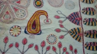 Kantha from srihatta village Bangladesh with very fine intricate hand embroidery with very condition.