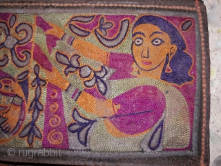 Rugrabbit note: this is not 18th century but a contemporary reproduction/ fake.     18th century mochi hand embroided leather purse from jadeja family from kutch gujarat with its very very fine intricate embroidery work  ...