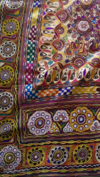 Kutchi Rabari wall hanging from Kutch region Gujarat hand embroidered with very fine work it is one peice embroidered and no patch work the hanging is in great condition.