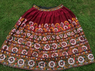 Vintage Rabari ghaghra (skirt) full size  from Kutch region Gujarat hand embroidered with very fine work the size of the skirt is 3.5 metre in length and height is 1 meter
