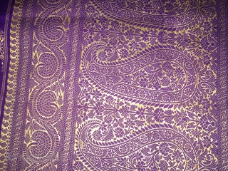 Vintage Banarasi sari from Varanasi used by the royal family's in India with good flowers and leaves design on it the sari has some very small holes but not visible.