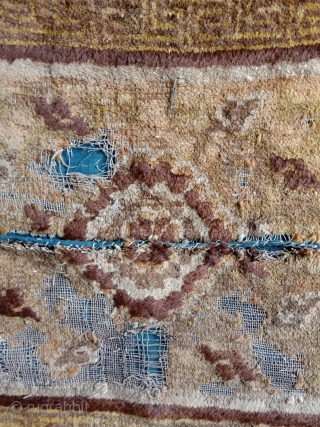 a quite early big knot seating or meditation mat -not a fragment from a bench cover-, before 1700, with stylized lotus center and ramification, and also stylilized bats in the brown outlining  ...