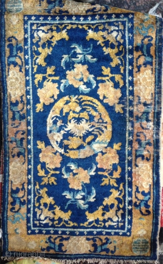 18th century small ningxia rug with beautiful colors. nice condition for this age..