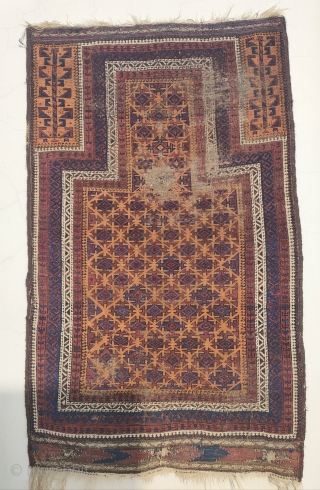 19th century baluch prayer rug, very finely woven beautiful wool and colors, the orange ground is also natural. lots of nice interesting details, note the composition of the dots in the tree  ...