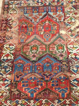 a fantastic north west persian kurdish rug with an incredible richness of colours, an amazing wool. best of type and possibly of the oldest with this design.