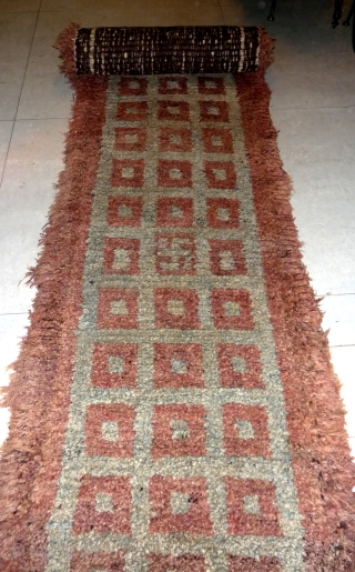 this is a rare huge meditation bench cover wangden rug. rare light turquoise blue back ground, only one square is decorated with a swastika on its length of six meters! a hard  ...