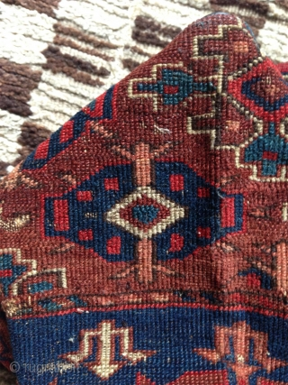 fragment of the lower elems of an early ensi made into a bag. wonderful well patinated saturated colors.. possibly igdir or abdal,very rare early gul, some fine cotton wefts. opened it would  ...
