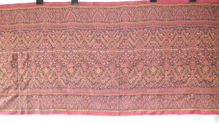 Cambodian textiles  Cambodia 001(318cm x 84cm - 125in x 33in) good condition, color very good, one medium size repair on left side of cloth, late 19th century.
