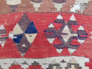 Exceptional Anatolian Obruk prayer kilim. c. 1800. Conserved & mounted on linen to the highest standard. Sublime old color! Fine. As good as they get.