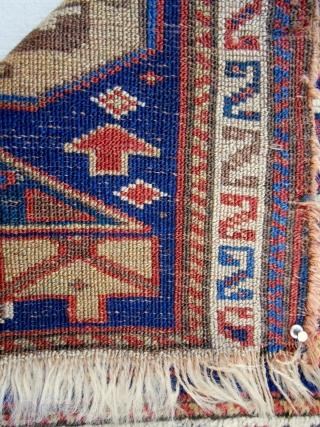 "Northwest Persian (Kurdish) bagface with silky wool(21""x 20""). Mid 19th c."