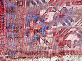 Distressed by very early and beautiful Caucasian Kazak rug. Look at the figure/ground of the border. Look at the color!