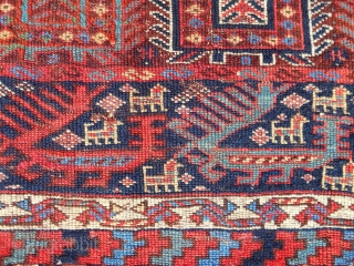"""Dragons! Extremely rare and fine Qashqai Khorjin face (32""""x 18"""") Early 19th c. (see """"Tribal Rugs"""" by MacDonald, plate 103)"""