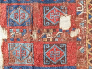 "Extremely rare 18th c. East Anatolian Kurdish rug fragment (38"" x 60""). Sourced in Istanbul. Conserved and mounted on linen."