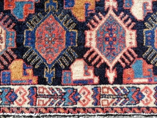 Persian Afshar Bagface with rather unusual design in excellent, all original condition. Late 19th c.