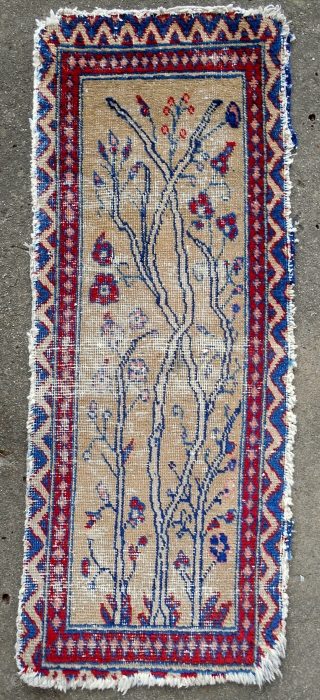 "Great little (15""x 38"") ""Persian miniature style"" 19th C. Mahal mat with trees. Very rare."
