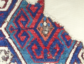 Circa 1750 Rare Eastern Anatolian rug fragment. Conserved and professionally mounted on linen.
