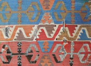 C. 1800 Anatolian banded kilim panel. Fabulous pastel color range.