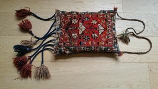 """Qashgai Small Bag, Pile. Some red field abrash, Tree of Life motif.  Original braided tassels.  23"""" x 10""""."""