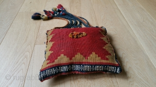 "Qashgai small bag, Soumac. Original braided tassels. 21"" (including tassels) x 10""."