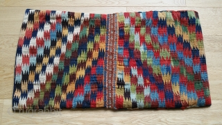 "South Persian Soumac saddle bag. 34"" x 18"". Intact closures and selvage."