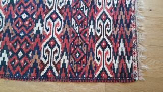 Yomud Kilim. Wool with white cotton, no damage or stains, brocaded end bands. 