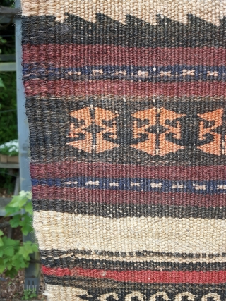 Distinctly rustic Qala-i-Now Afghan kilim. 6ft long. Worn a bit thin in places and has clearly lived an interesting life.
