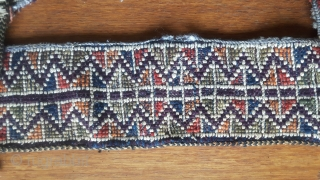 Unusual Moroccan Middle Atlas bags. Beni M'Guild, mid-century, complete. Mainly wool with cotton decoration, spangles and tassels A couple metallic. Pile-woven straps with Berber knots