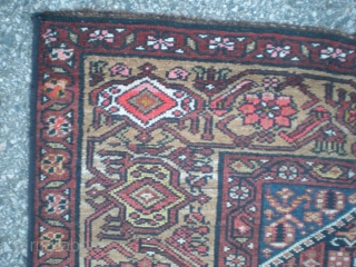 "Old Kurdish rug, very good condition overall with medium even pile, no repairs, excepting machine overcast selvage. Weaver's personal touch of abrash between medallions. Early 1900's, size 6' 8"" x 3' 8""  ..."