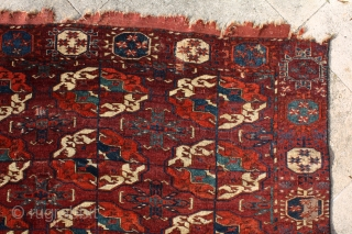 """""""The knowledge of which geometry aims is the knowledge of the eternal."""" Plato Turkmen Tekke main carpet, early to mid 1800's. Burning colors after 150-200 years .... More beauties: http://rugrabbit.com/profile/5160"""