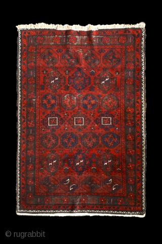 """""""Gurbaghe"""" baluch rug, North-east Persia, Khorassan area, around 1900. more beauties: http://rugrabbit.com/profile/5160"""