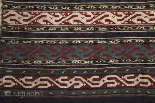 'Swastika' Jajim, 19th century, Caucasus, most probably Sahsavan, 162x148 cm, perfect condition. Never seen a piece before with comlete Swastika design.... Did you? More pieces on sale: http://rugrabbit.com/profile/5160