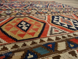 Shirwan kilim, mid19th century, probably the half of a longer kilim, 167x150 cm, deep dyes (much deeper than appearing on the pics) & very fine weave. added fringes at the bottom, otherwise  ...