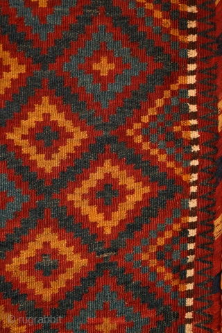 Meymaneh / Maimana bag, Afghanistan, late 19th/early 20th century, wool on wool. Great organic colors, super soft wool, cool design. More pieces: http://rugrabbit.com/profile/5160