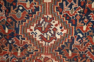 """Poetic Khamseh """"bird"""" rug, 19th century, wool on wool, a lovely storytelling about birds in love on the sides of a tree of the life which ends in seeds (bottom of the  ..."""
