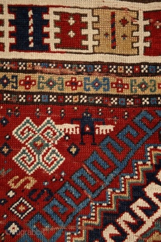 Rural, free & real. Charismatic village rug from the Caucasus. Somewhere in the Gazakh/Fakhralo area, 19th century. Great condition with good pile. Perfect, shining, living colors. More pieces here: http://rugrabbit.com/profile/5160