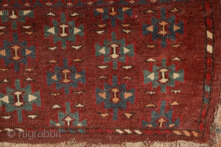 """Yomud """"Dyrnak"""" main carpet, 310x170 cm, 19th cent., fantastic colors, different blues , greens, yellows.... unusual elem, opened, bold and graphic drawing, well balanced, spacious field, very fine weave, some unfolded part  ..."""