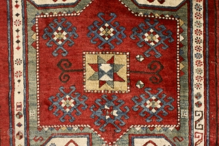 Sevan kazak, 19th century. Glorious caucasian color palette, soft wool, full meaty pile (except some corrosion to the browns). Some small unfolded spots in the side cords and the upper left corner,  ...