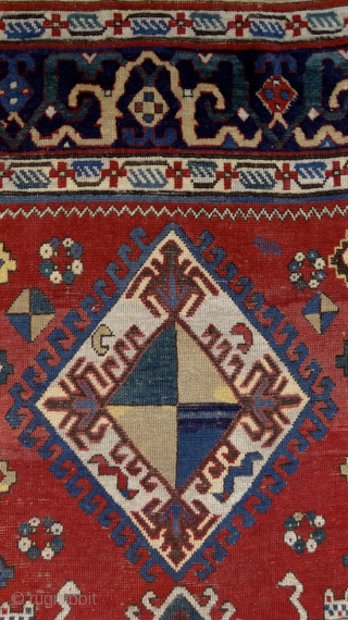Shulaver Kazak rug, Cacasus, 19th century with fantastic cloud-band borders, a straight line from the anatolian middle-age weaving traditions. Very well preserved condition, healthy side cords and ends. Lower pile in the  ...