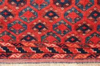 Beshir turkmens launching spaceships to their inner universe... Ersari/Beshir rug, end of 19th century, 185x105cm, allover eshme-gül design, which usually appears on different kind of bags, not common on rugs. Bright, vivid  ...