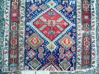 Colour bomb carpet fragment, maybe Shahsavan, NWP for sure, 210 x 100 cms, an amazing range of colours that have survived well. This is a really beautiful thing. It has everything –  ...