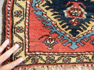 Bold Kurdish pile bagface, 57 x 47 cms, thick deep pile, floppy but chunky handle. Ex John Collins.