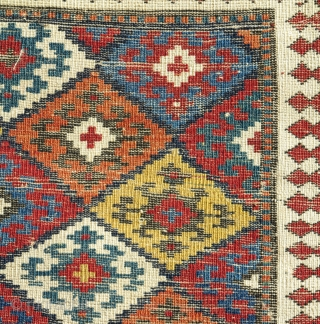 Caucasian Kuba bag face with a 'Jaf' design. Smashing color! Part of our exhibition, 'Artful Weavings'.